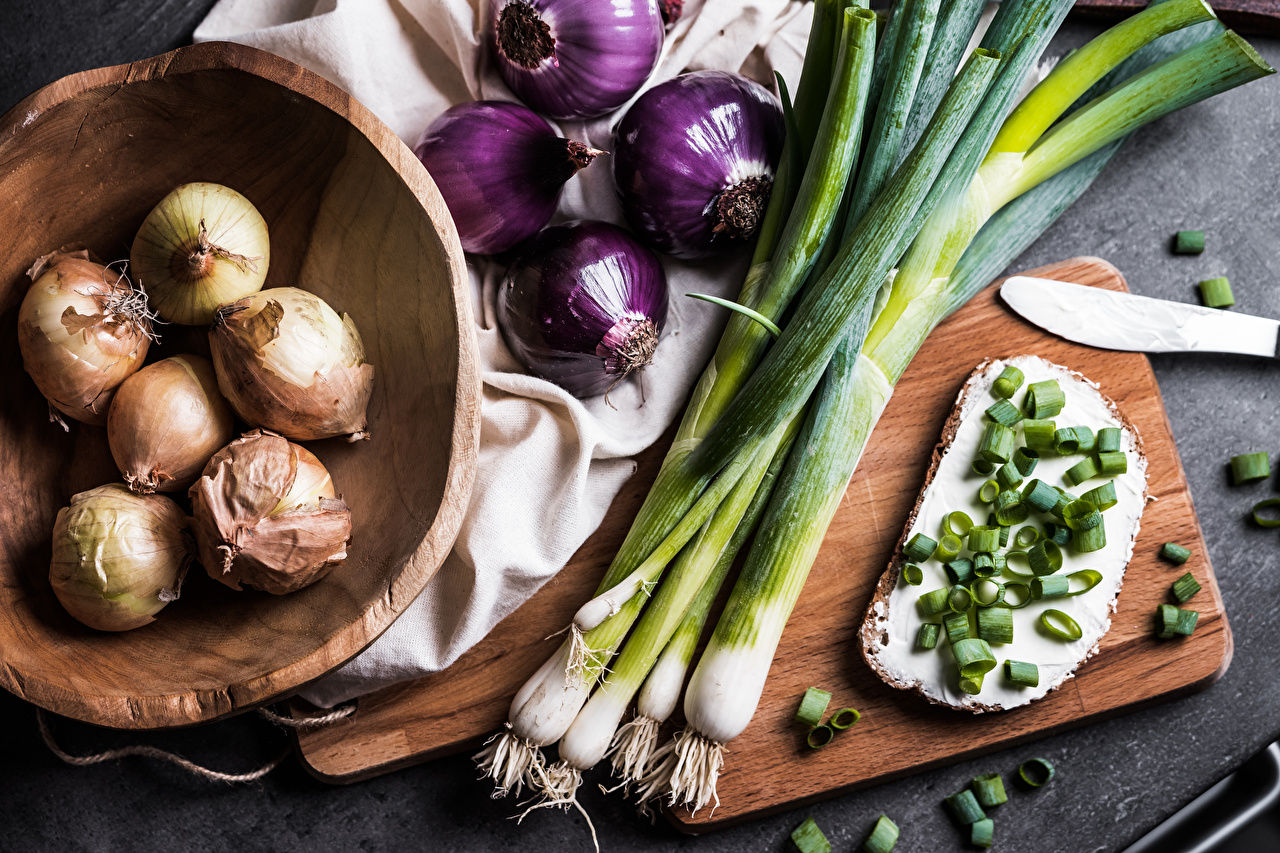 Desktop Wallpapers Food Bowl Onion Bread Butterbrot Cutting board Oil salad onions Scallion
