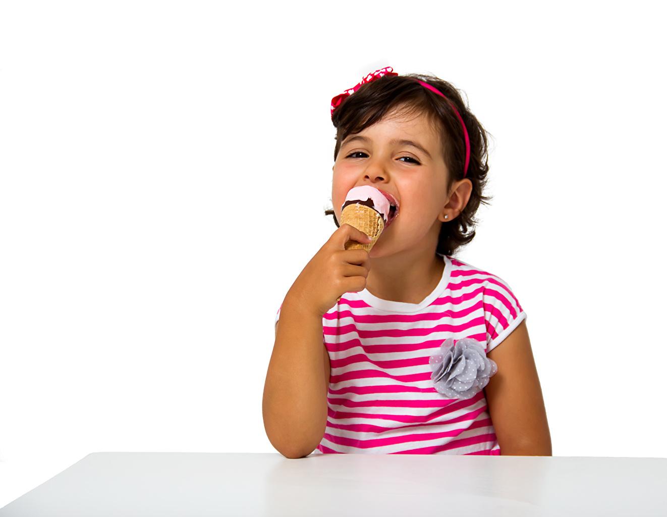 Photo Little girls Smile child Ice cream White background Children