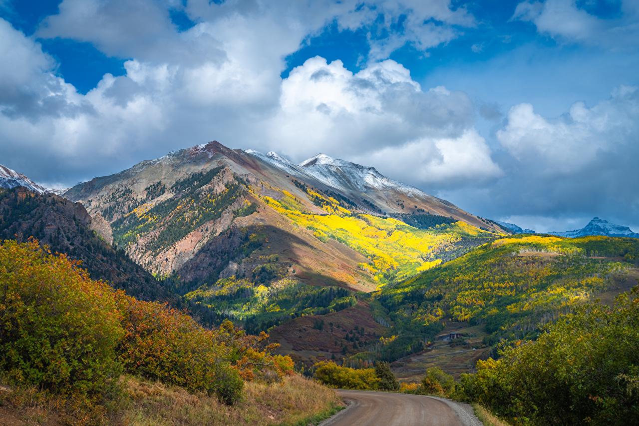 Fotos von USA Colorado Natur Herbst Gebirge Straße Wolke Vereinigte Staaten Berg Wege