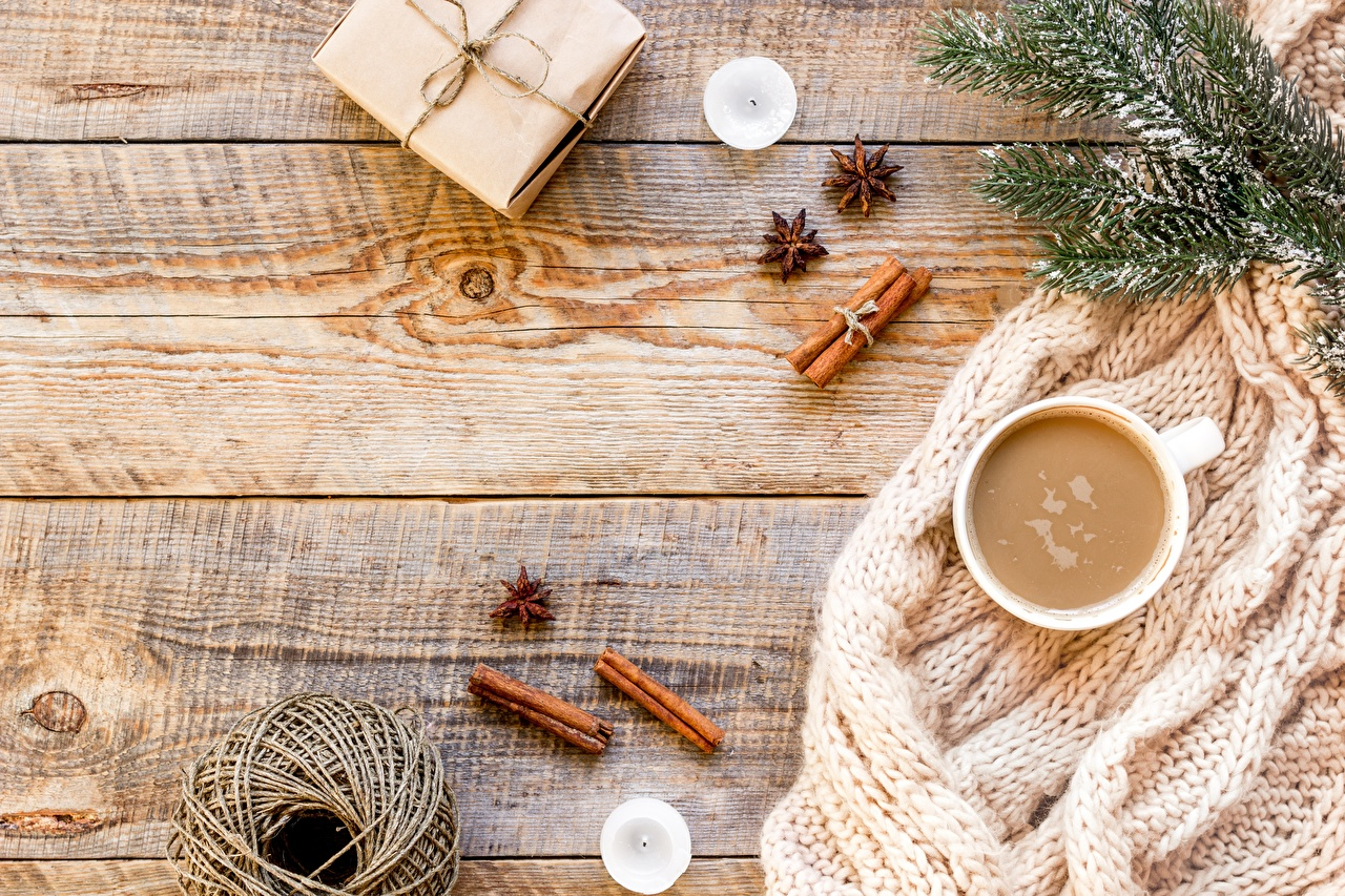 Desktop Wallpapers Christmas Coffee Box present Cinnamon Cup Branches New year Gifts