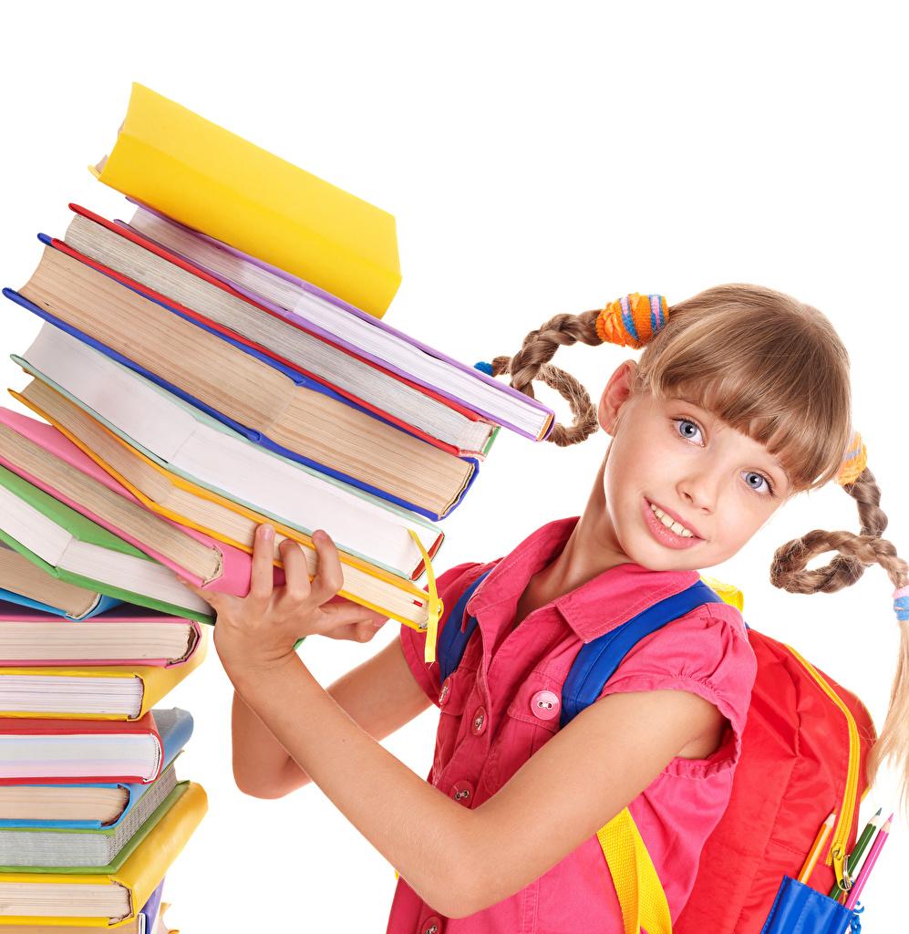 Photos Little girls School Children books Hands Glance White background child Book Staring