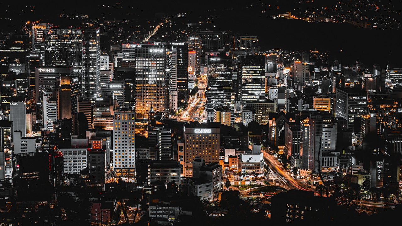 Bilder Seoul Südkorea Megalopolis Nacht Städte Gebäude Haus