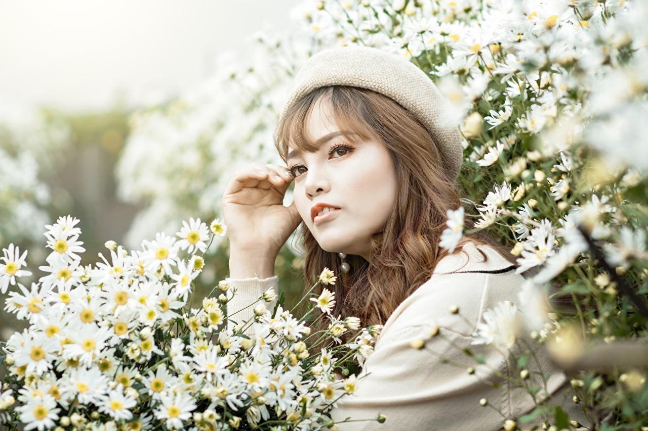 Foto Barett Mütze junge Frauen Kamillen Asiatische Blick Mädchens junge frau Asiaten asiatisches Starren