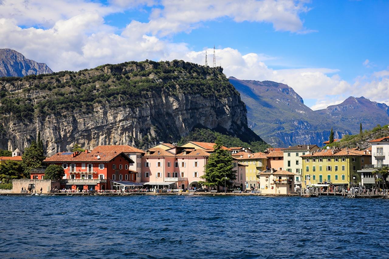 Photo Italy Lake Garda mountain Cities Building Mountains Houses