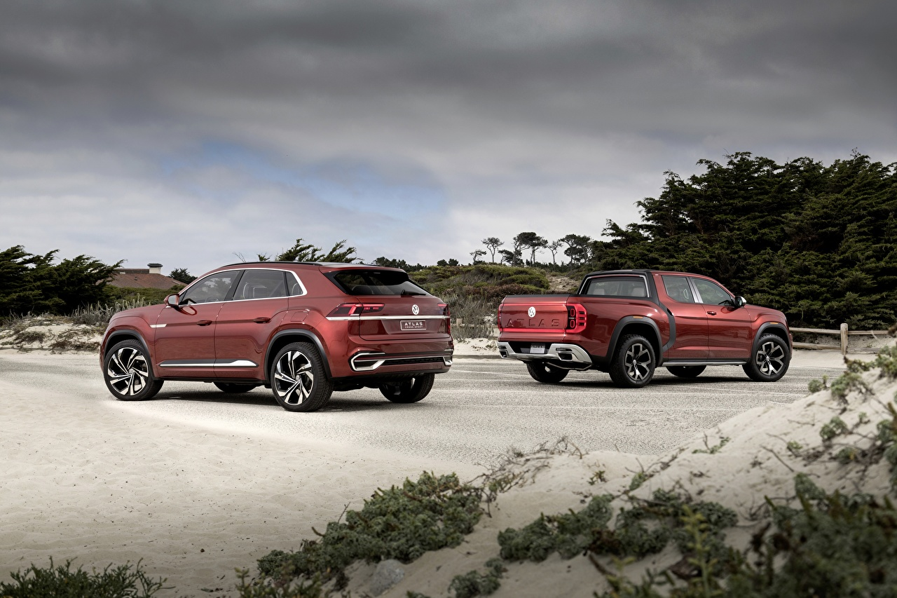 Volkswagen 2018 Atlas Tanoak Concept, Atlas Cross Sport Rojo Pickup VUD SUV, Vehículo utilitario deportivo Coches
