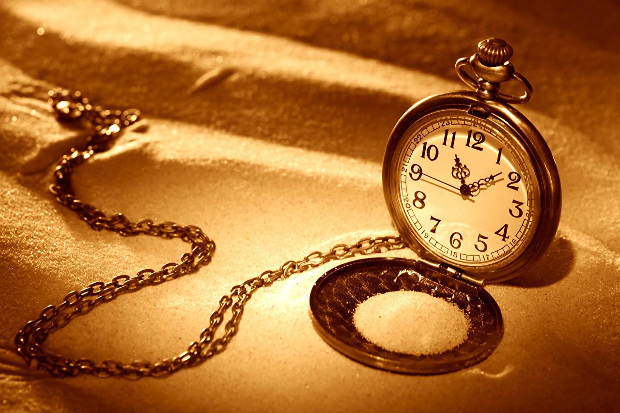 Fotos Taschenuhr Uhr Sand Kette