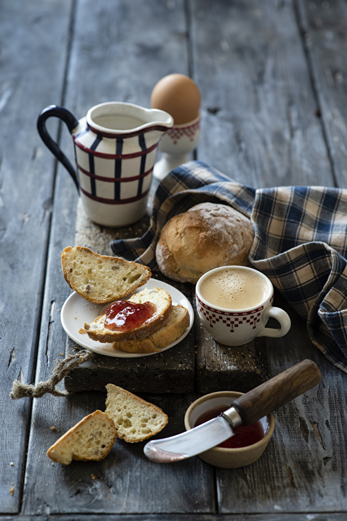 Photo Knife Jam Coffee Breakfast Cappuccino Bread Jug container Cup Food Wood planks  for Mobile phone Varenye Fruit preserves jugs pitcher boards