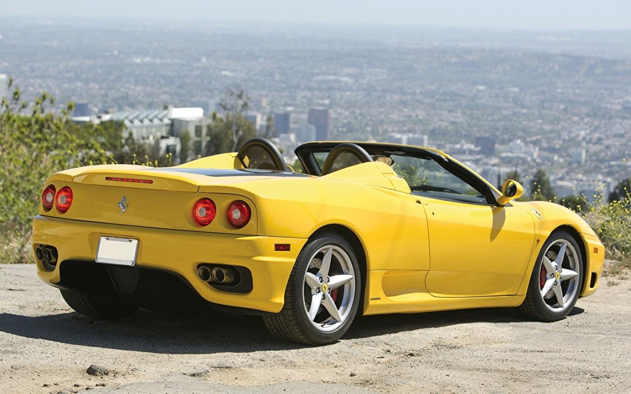 Fondos De Pantalla Ferrari 360 Spider Amarillo Vista Trasera Coches Descargar Imagenes