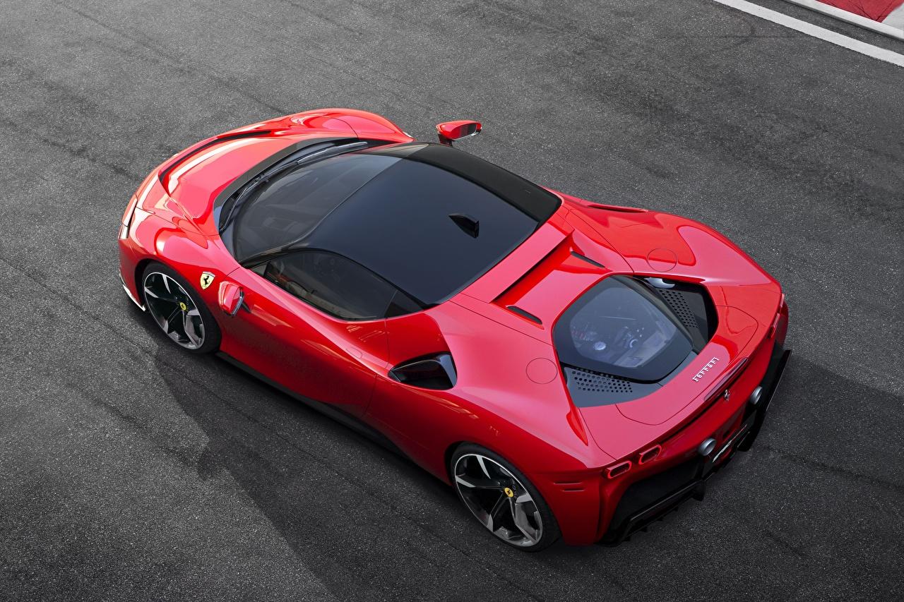 Bilder von Ferrari Stradale SF90 Rot auto Von oben Autos automobil