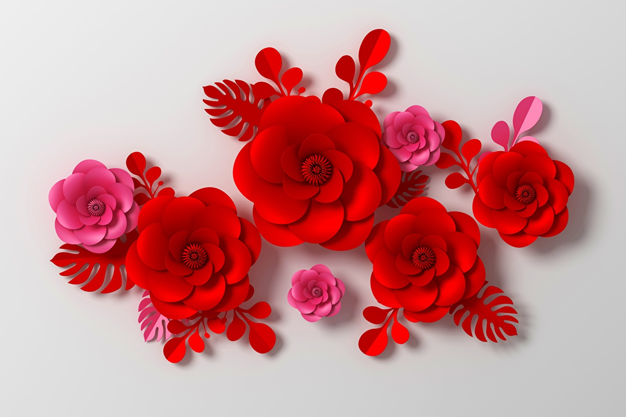 Photos Tracery Red 3D Graphics flower Gray background ornament Flowers
