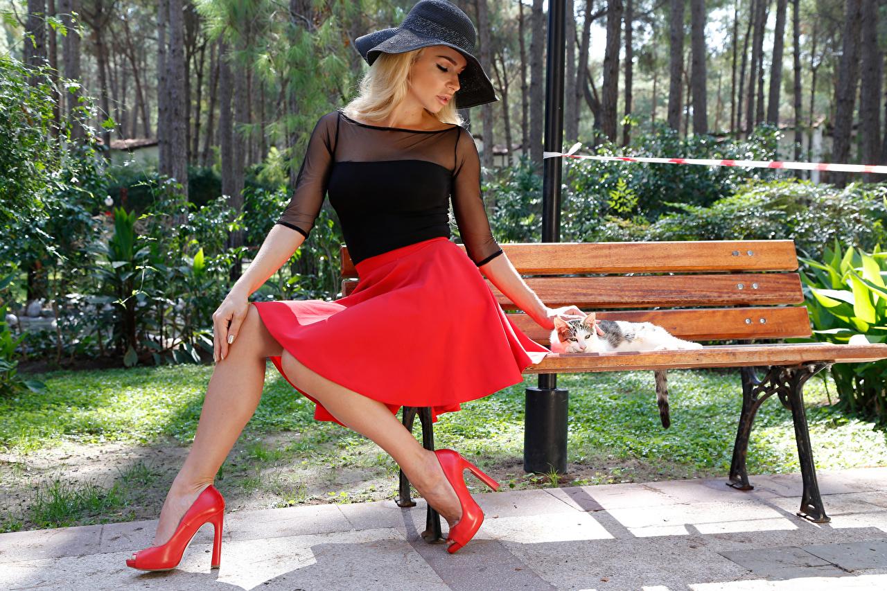 Bilder Rock Blond Mädchen Der Hut Mädchens Sitzend Bank (Möbel) Stöckelschuh Blondine High Heels