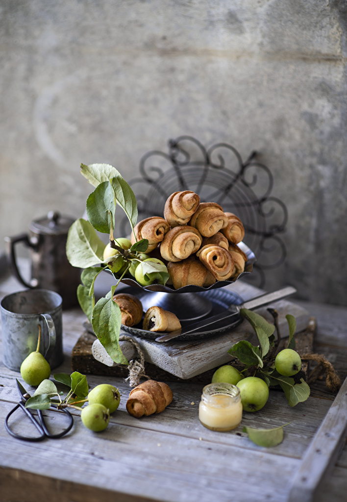 Pictures Honey Croissant Pears Apples Food  for Mobile phone