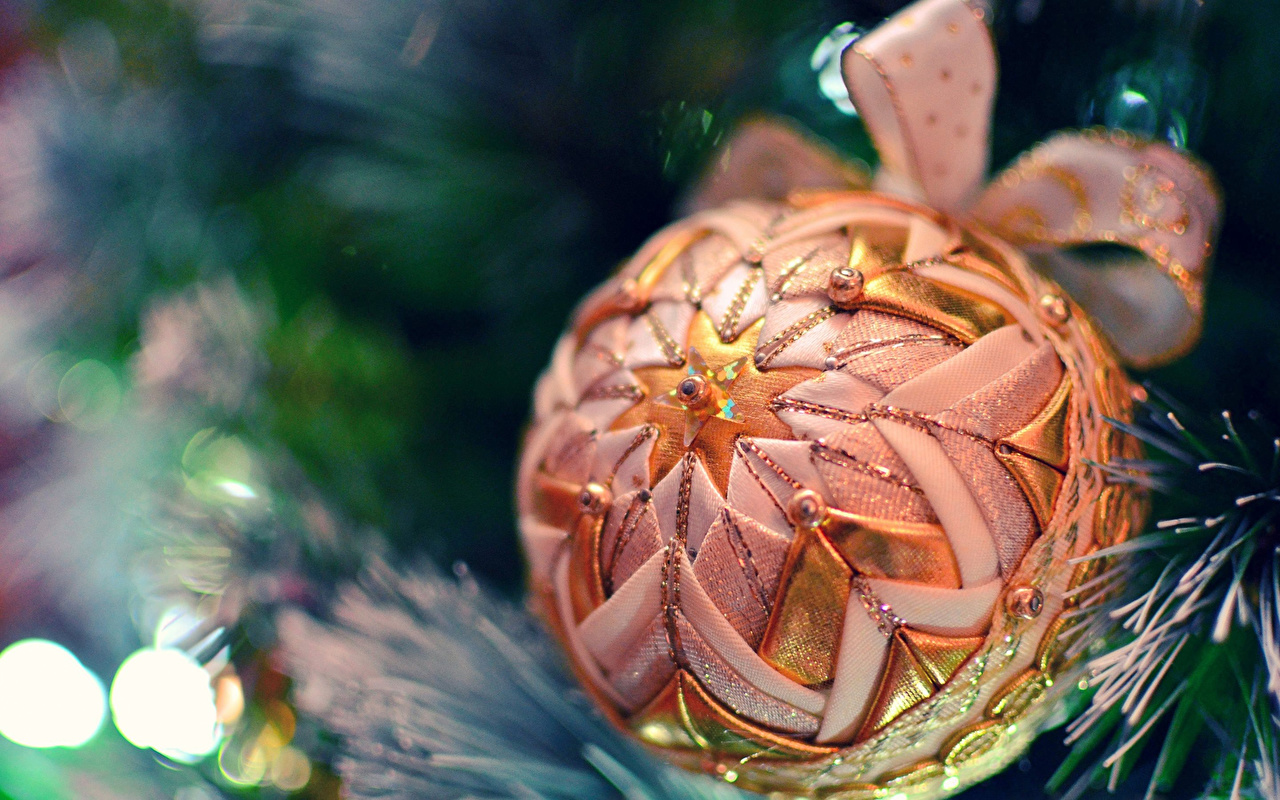 Photo New year Balls bow knot Holidays Christmas Bowknot