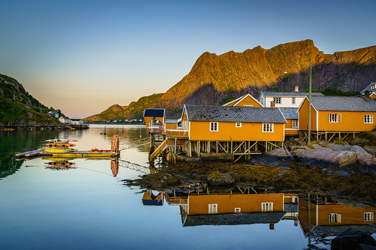 Fotos Lofoten Norwegen Natur Gebirge Gebäude Berg Haus