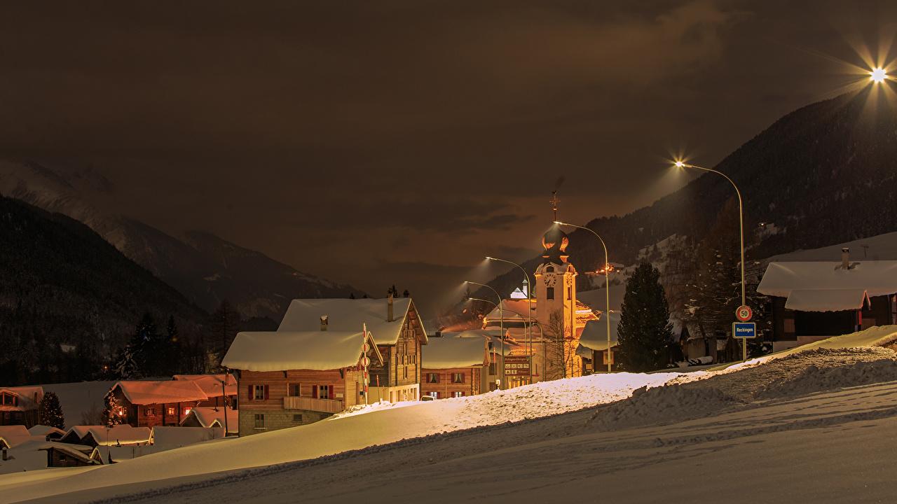 Sfondi Svizzera Reckingen Goms Inverno Neve Notte Città La casa Di notte notturna edificio
