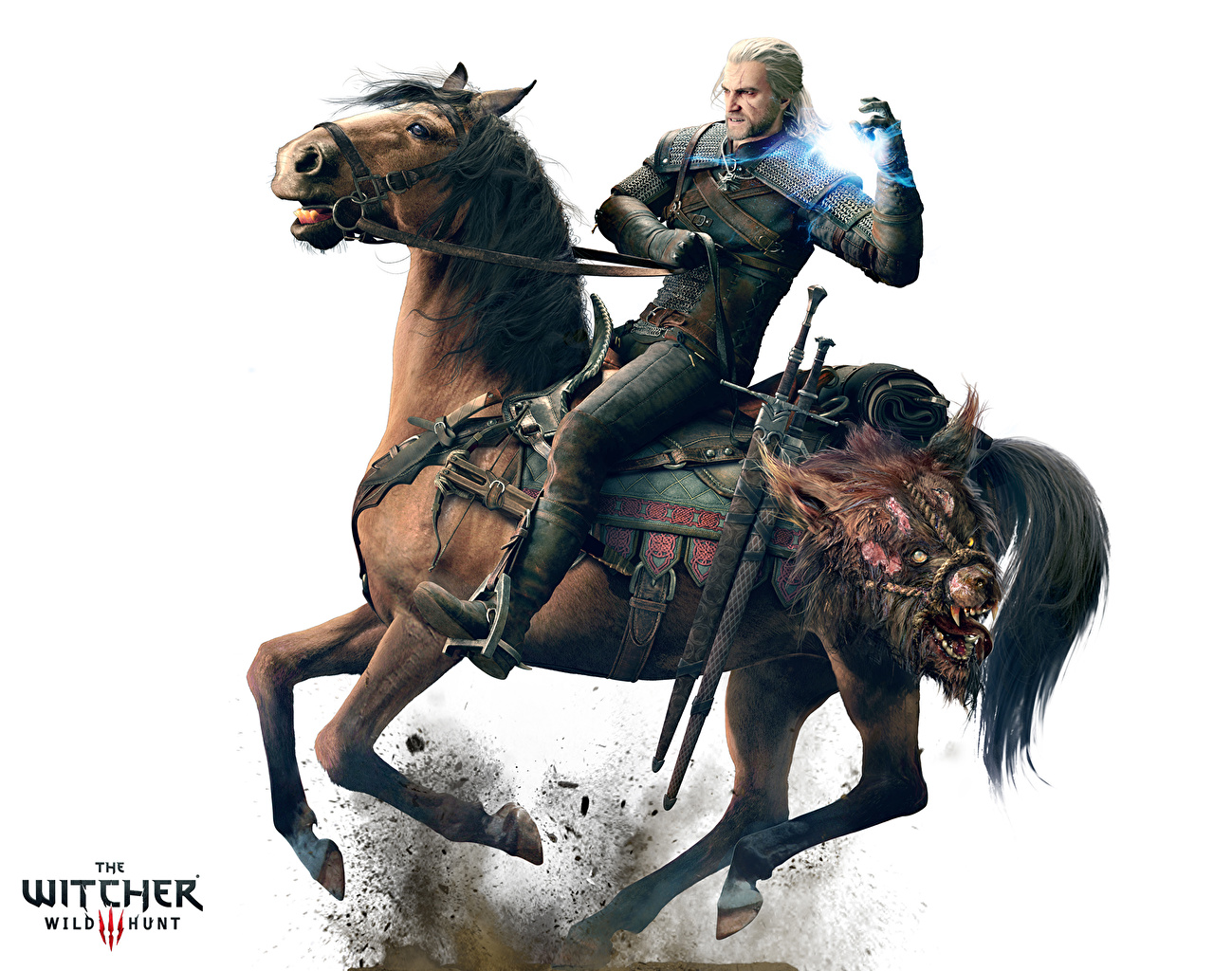 Photo The Witcher 3: Wild Hunt Horses Geralt of Rivia Man warrior Games White background horse Men Warriors vdeo game