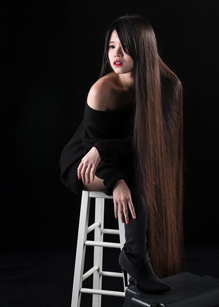 Photo Model Makeup Wearing boots Hair Girls Asiatic Chairs Sitting Black background  for Mobile phone Modelling female young woman Asian sit Chair