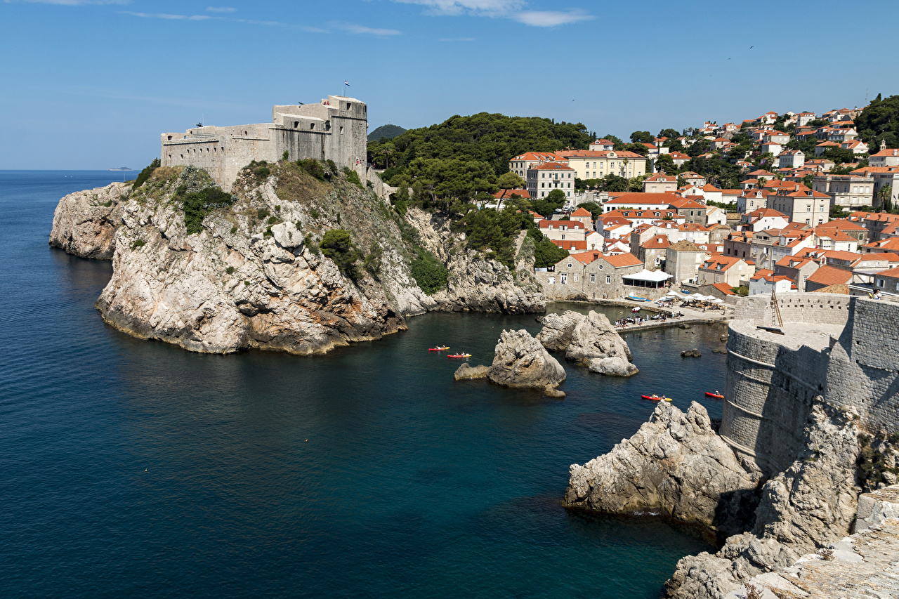 Wallpaper Dubrovnik Croatia Crag Bay Berth Houses Cities Rock Cliff Pier Marinas Building