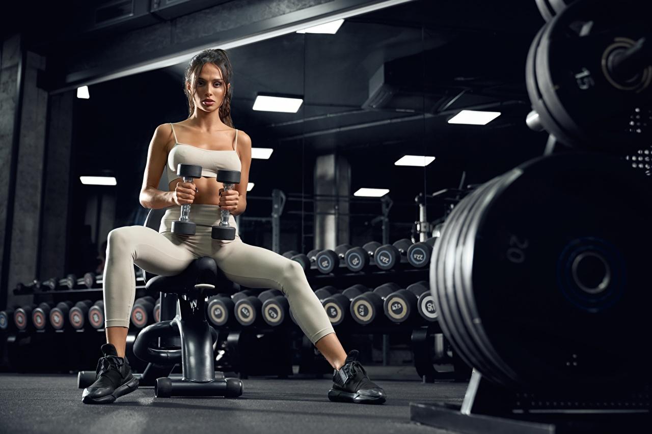 Fotos Turnhalle Trainieren Fitness Hantel Mädchens sportliches sitzt Blick Fitnessstudio Körperliche Aktivität Sport Hanteln junge frau junge Frauen sitzen Sitzend Starren