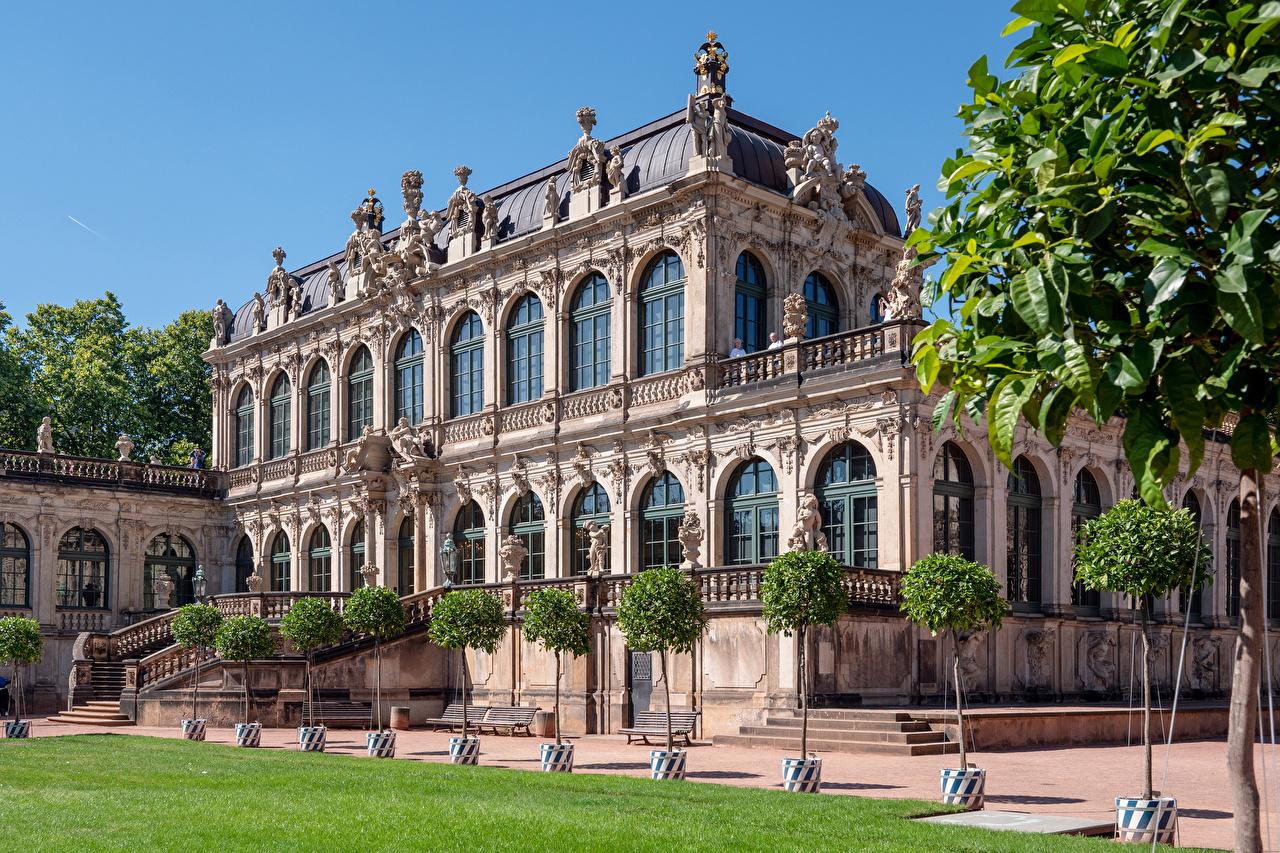 Skrivebordsbakgrunn Dresden Tyskland museer Zwinger byen Skulptur bygninger Design Museum Hus Byer en by bygning