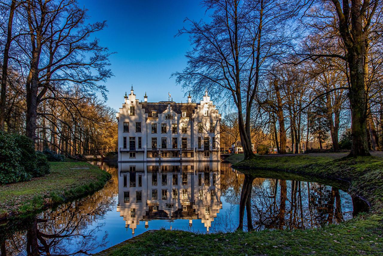 Images Netherlands Landgoed Staverden Nature Castles Pond Parks reflected Trees castle park Reflection
