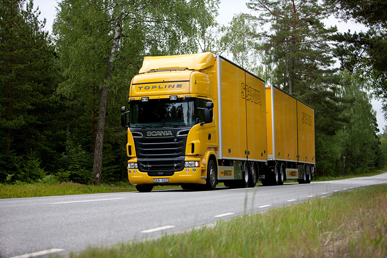 Pictures lorry Scania Yellow Roads auto Trucks Cars automobile