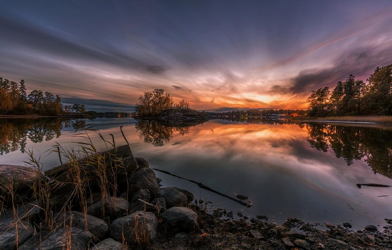 Fotos von Natur Sonnenaufgänge und Sonnenuntergänge Fluss Steine Morgendämmerung und Sonnenuntergang Stein Flusse