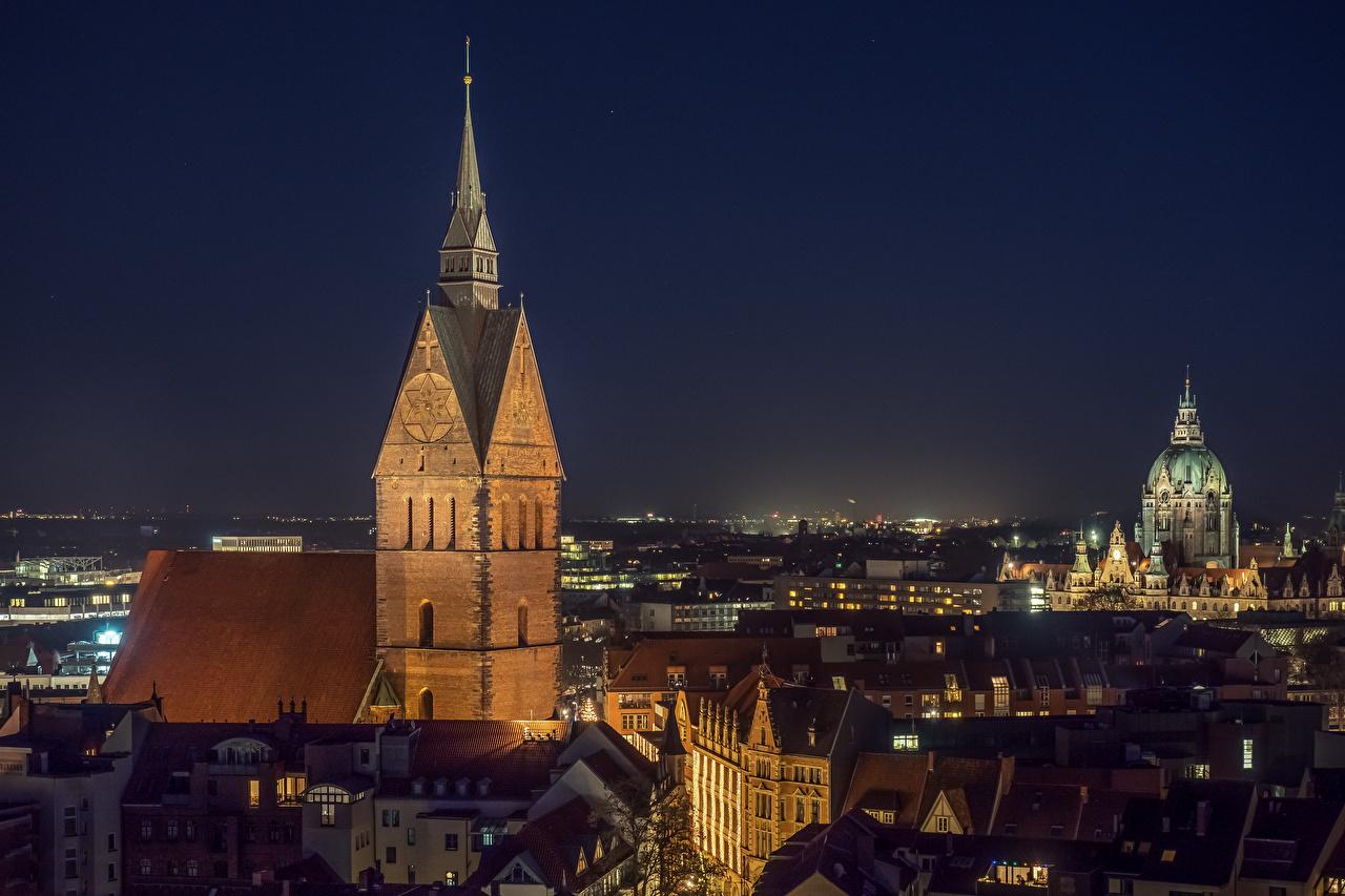 Fotos von Kirche Deutschland Hannover, Marktkirche Nacht Städte Gebäude Kirchengebäude Haus