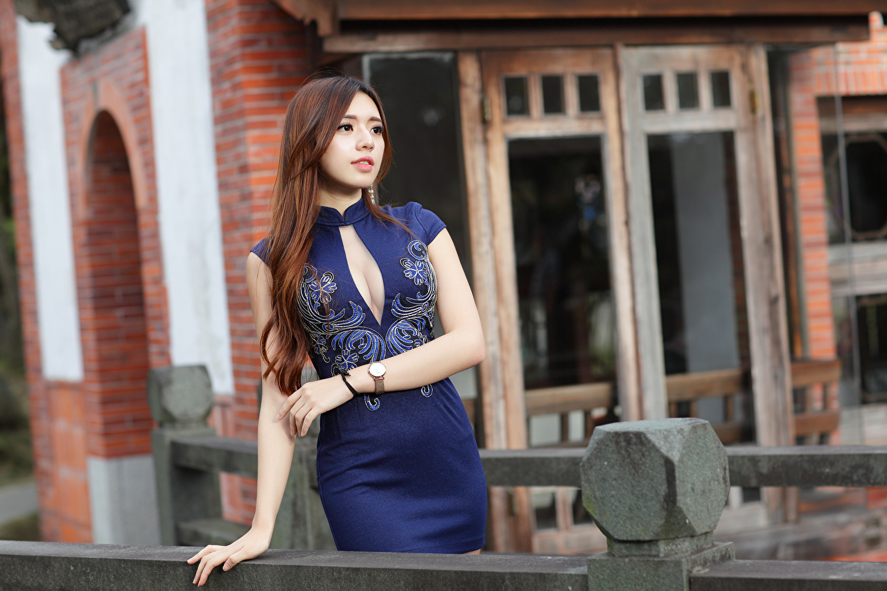 Pictures Brown haired Bokeh Girls Asian Hands Glance gown blurred background female young woman Asiatic Staring frock Dress