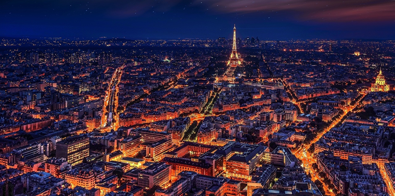 Picture Paris Eiffel Tower France Tower night time From above Cities Building towers Night Houses