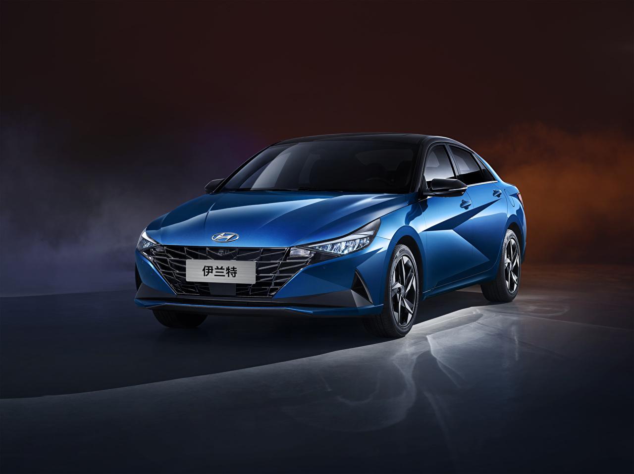 Desktop Hintergrundbilder Hyundai Blau automobil Metallisch auto Autos