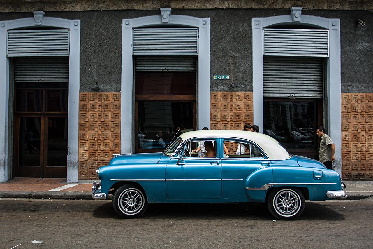 Wallpaper Street Havana Cuba Retro Light Blue Cars Side