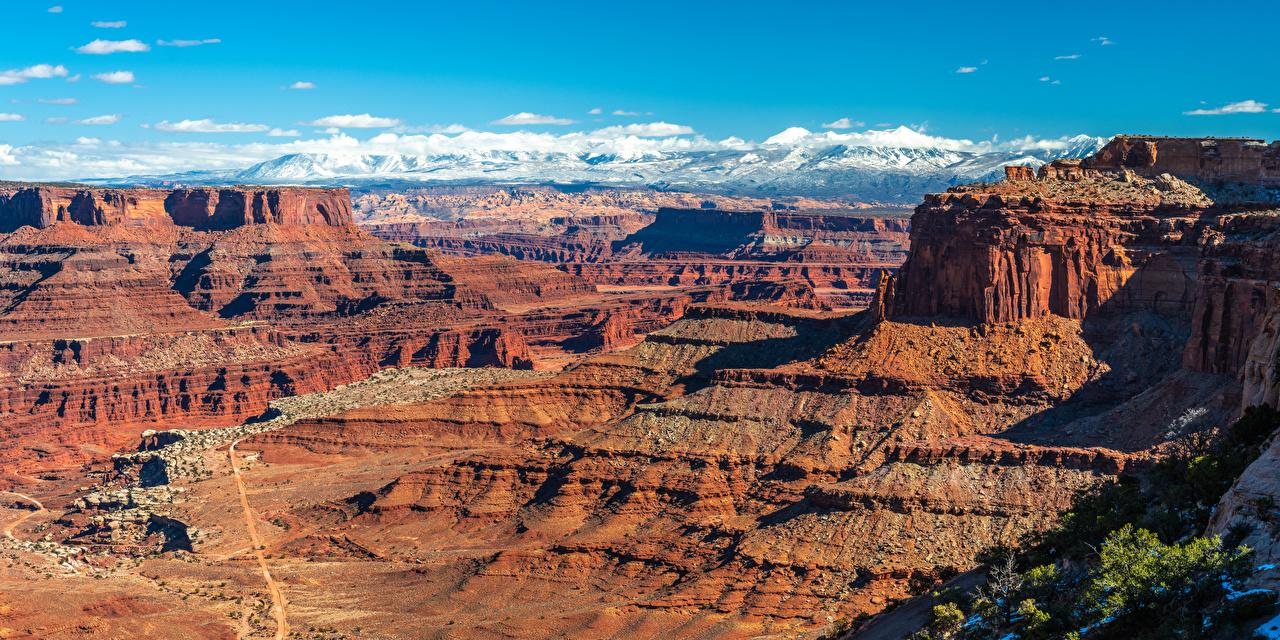 Image Nature USA Canyonlands National Park, Utah Cliff Canyon panoramic park Crag Rock canyons Panorama Parks