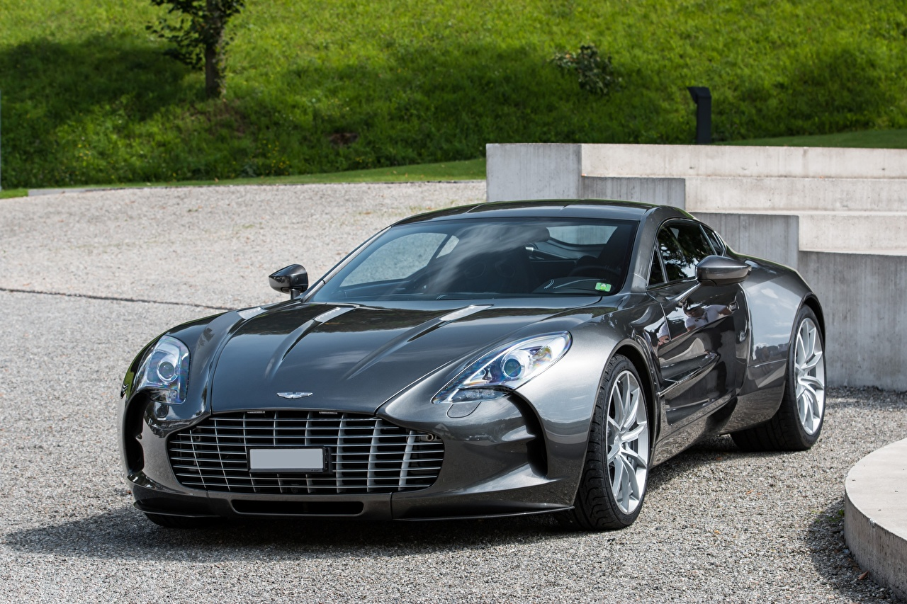 Images Aston Martin Super ONE-77 gray Cars Grey auto automobile