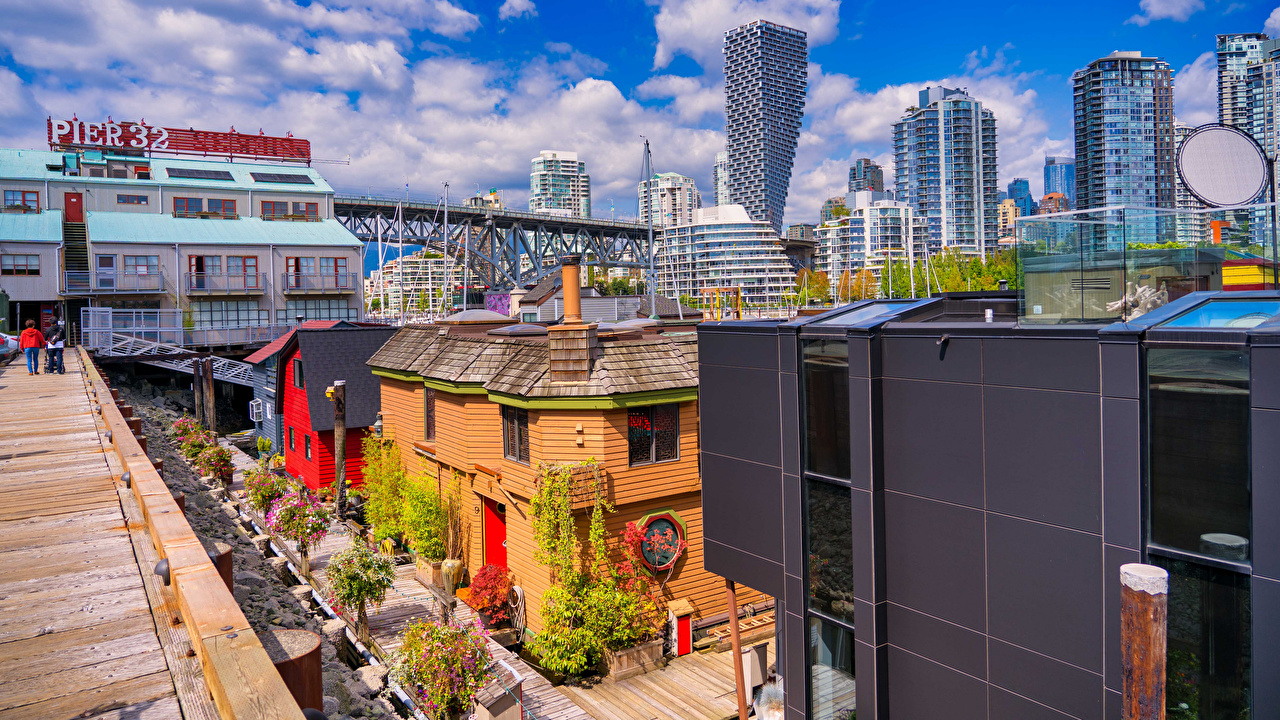 Bilder Vancouver Canada Granville Island Broer en by bygninger en bro Hus Byer byen bygning