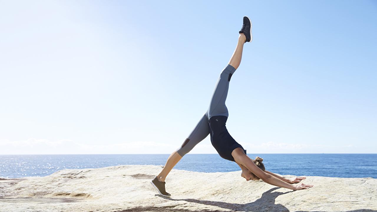 Fotos Trainieren Dehnübungen Pose Fitness junge Frauen Bein Körperliche Aktivität Dehnübung posiert Mädchens junge frau