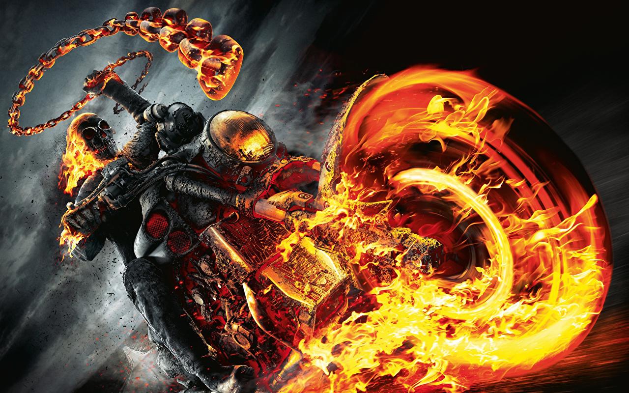 Tapety Ghost Rider (film 2007) koła Fantasy Szkielet Filmy płomień Łańcuch Motocyklista Koło film Ogień