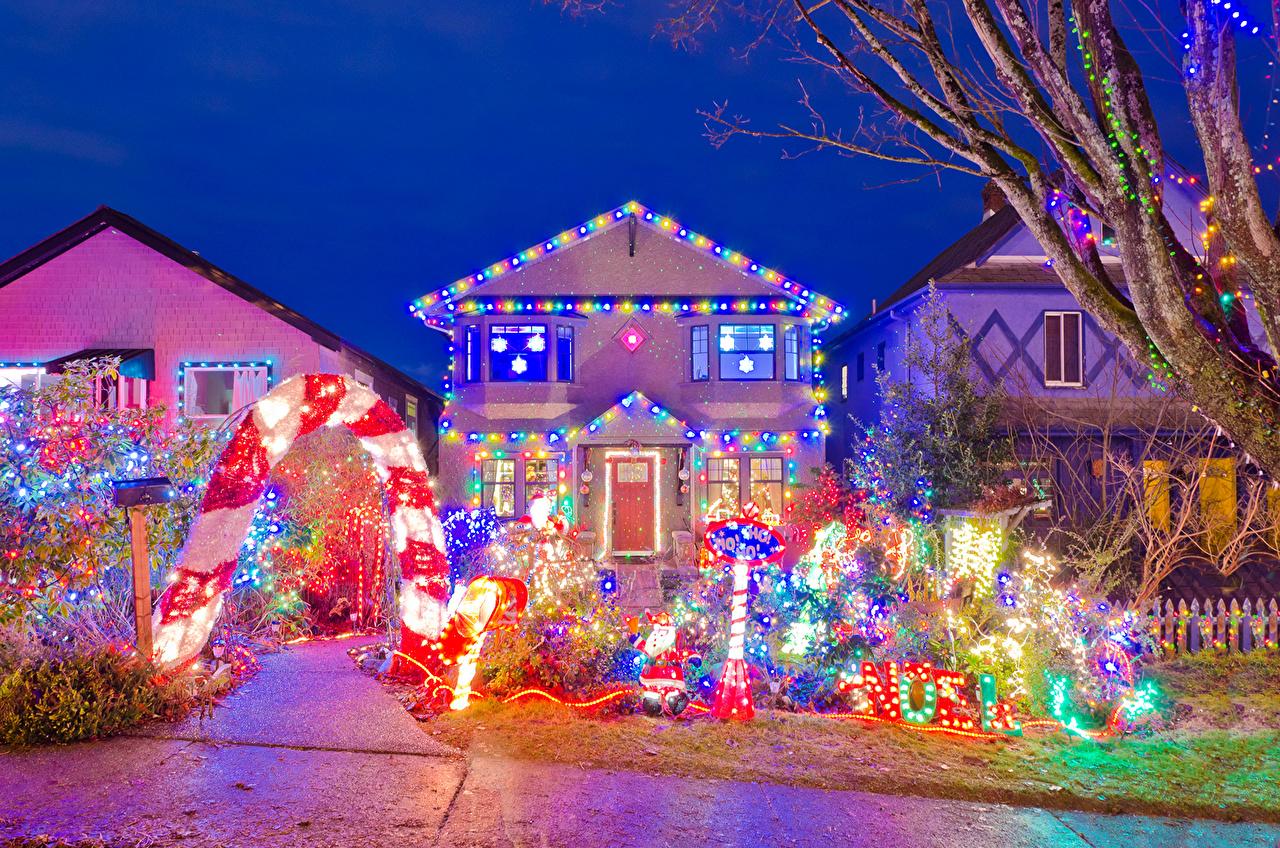 Casa Feriados Ano-Novo Design Luzes de Natal Edifício Cidades