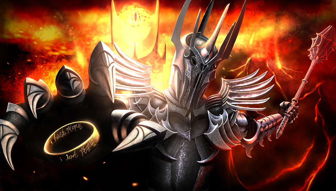 Image The Lord of the Rings Armor Helmet Sauron Fantasy Ring Movies armour film jewelry ring