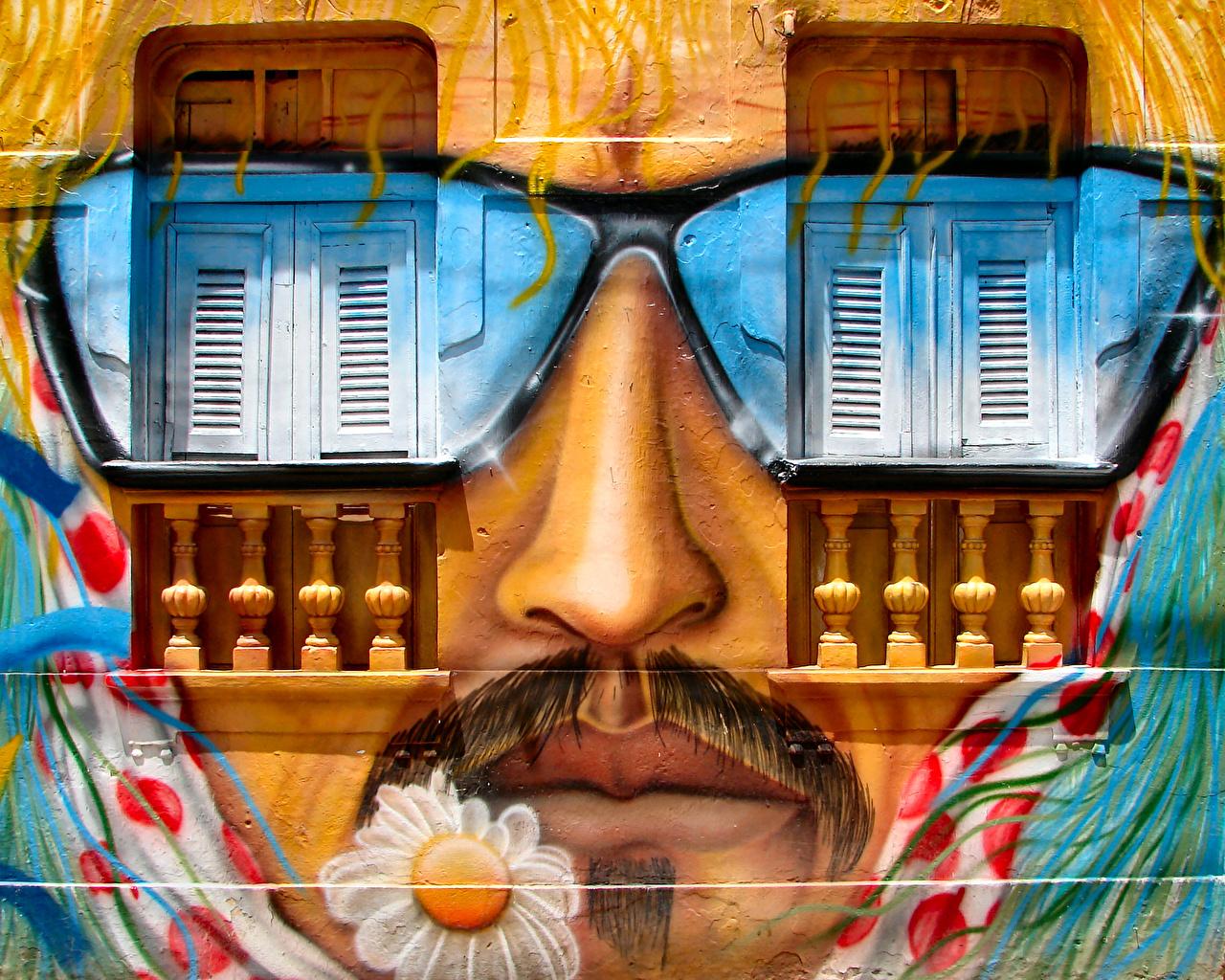 Desktop Wallpapers Man Face Graffiti walls Window Glasses Men Wall eyeglasses