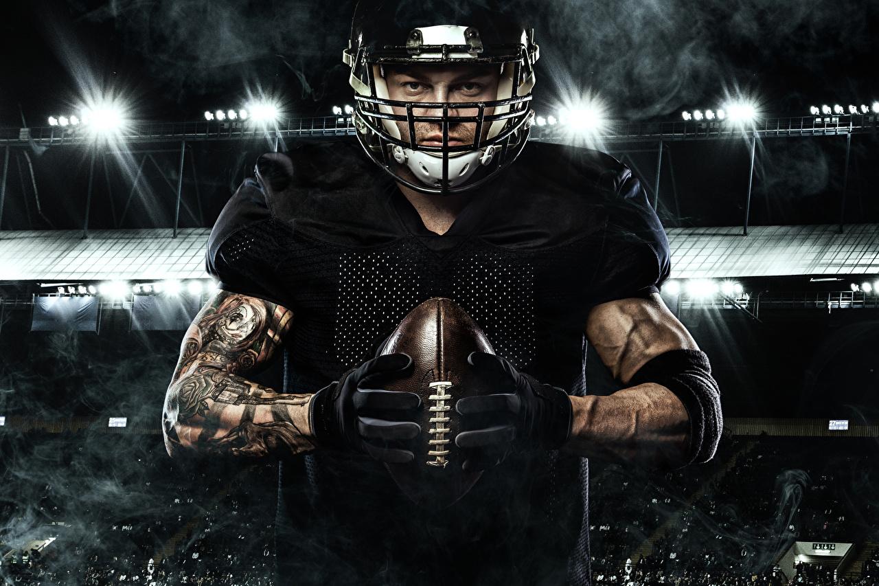 Fotos Mann Handschuh American Football Sport Ball Hand Uniform