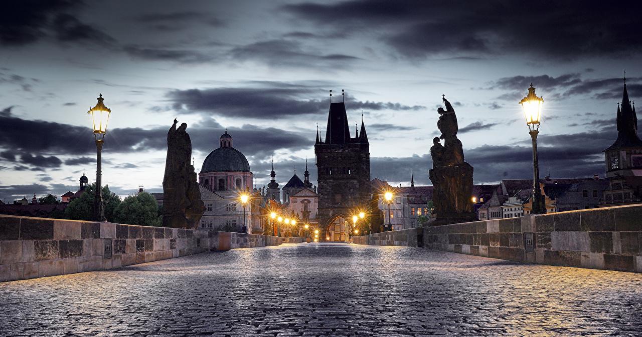 Wallpaper Cities Prague Czech Republic Bridges Charles Bridge Night Houses Sculptures bridge Building night time