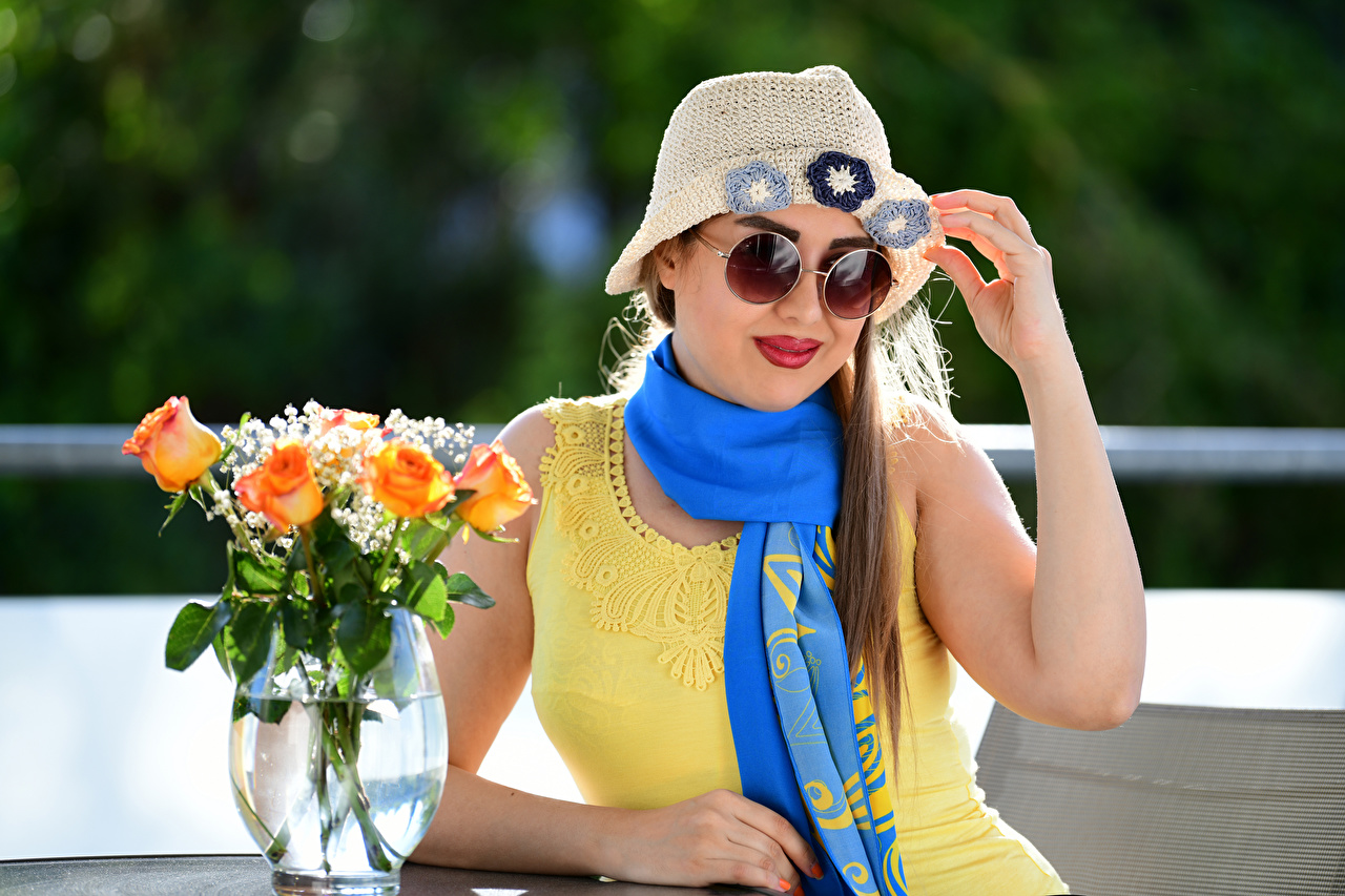 Picture Scarf Yasmin Hat rose Girls Flowers Vase Sitting eyeglasses frock Roses female young woman flower sit Glasses gown Dress
