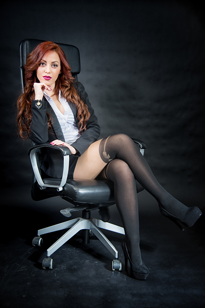 Image Pantyhose Redhead girl Samanta Blouse Girls Legs Sitting Wing chair Staring Suit jacket  for Mobile phone female young woman sit Armchair Glance