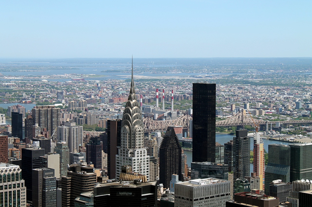 Pictures New York City USA Megapolis Horizon Skyscrapers Cities megalopolis