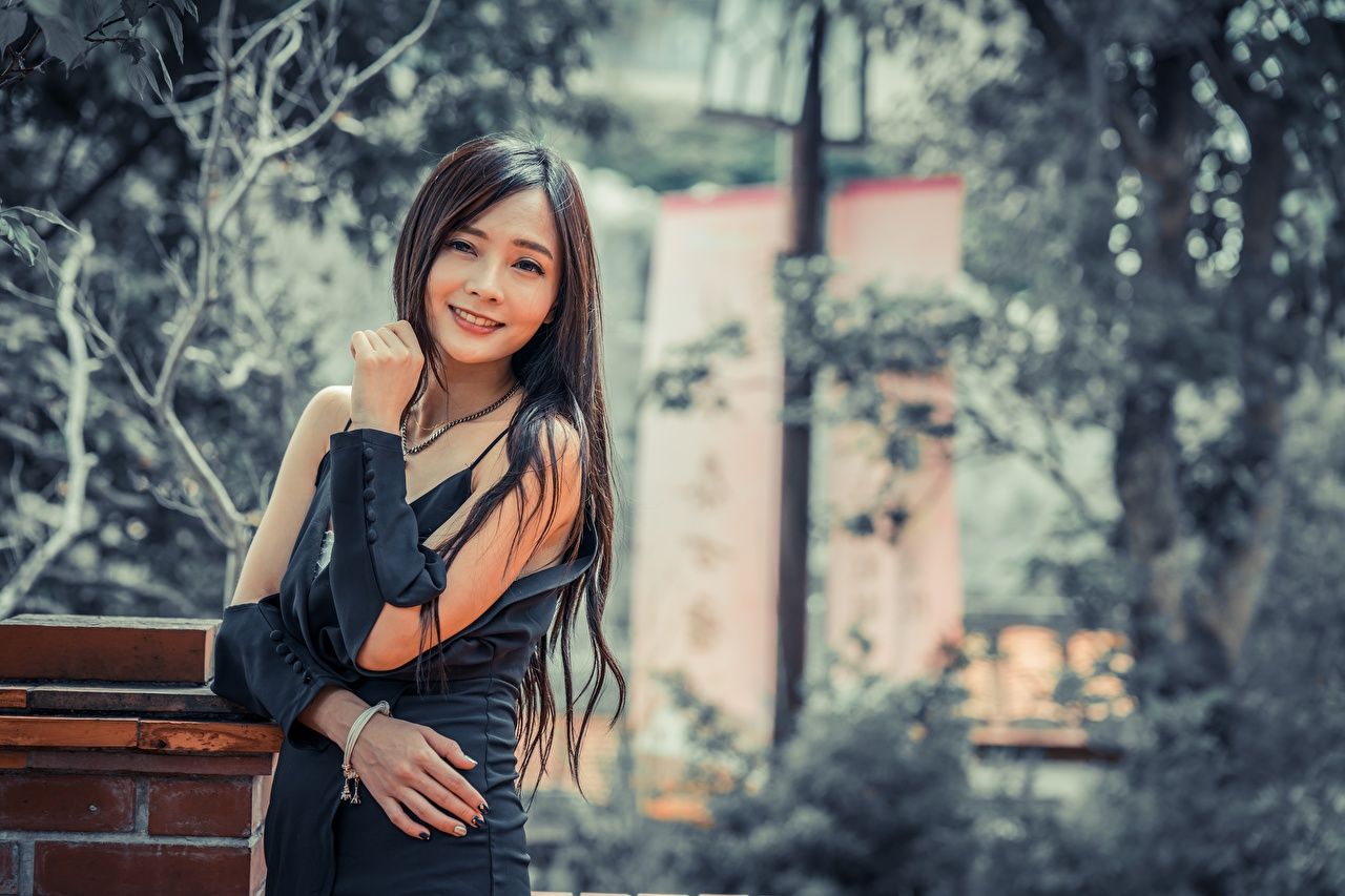 Picture Brunette girl Smile Bokeh Girls Asian Hands Glance blurred background female young woman Asiatic Staring