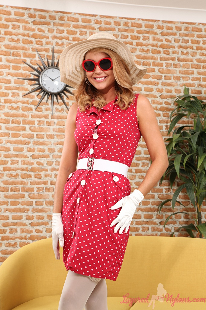 Desktop Wallpapers Bryoni-Kate Williams Smile Glove Hat young woman Hands Glasses Dress  for Mobile phone Girls female eyeglasses gown frock