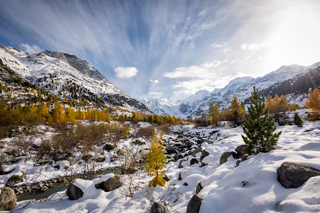 Photos Alps Switzerland Morteratsch Nature Mountains Snow Scenery stone mountain landscape photography Stones
