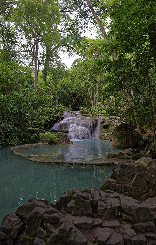 Photo Thailand Erawan Nationalpark Nature Waterfalls Parks stone  for Mobile phone park Stones
