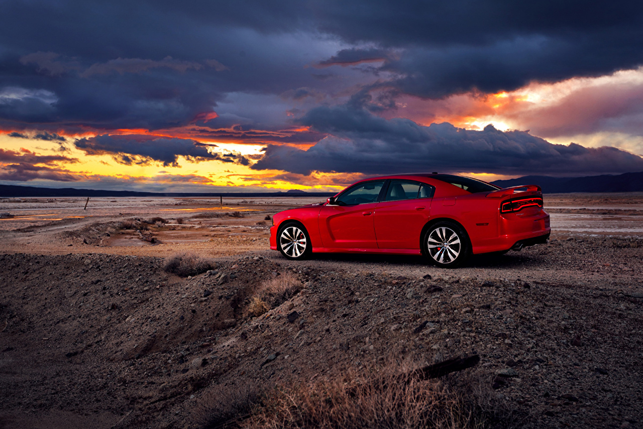 Images Dodge 2012 Charger SRT8 Red Nature sunrise and sunset Side automobile Sunrises and sunsets Cars auto